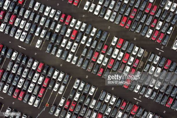 An aerial view shows Lines of new Honda cars parked up at the Royal Portbury Dock in Avonmouth, near Bristol in south-west England on December 4,...