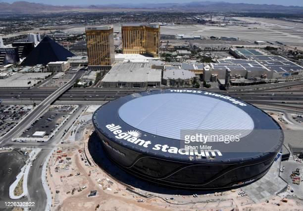 An aerial view shows Luxor Hotel and Casino Delano Las Vegas at Mandalay Bay Resort and Casino and Mandalay Bay Resort and Casino on the Las Vegas...