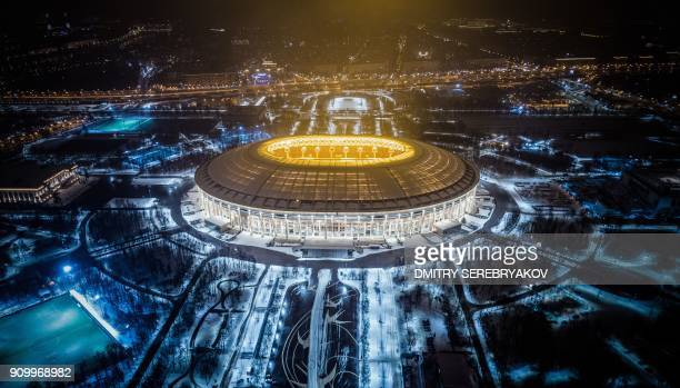 An aerial view taken with a drone shows Luzhniki Stadium in Moscow on January 24 2018 Luzhniki Stadium will host seven matches including the final of...