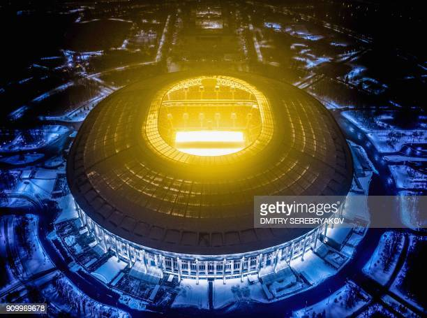 TOPSHOT An aerial view taken with a drone shows Luzhniki Stadium in Moscow on January 24 2018 Luzhniki Stadium will host seven matches including the...