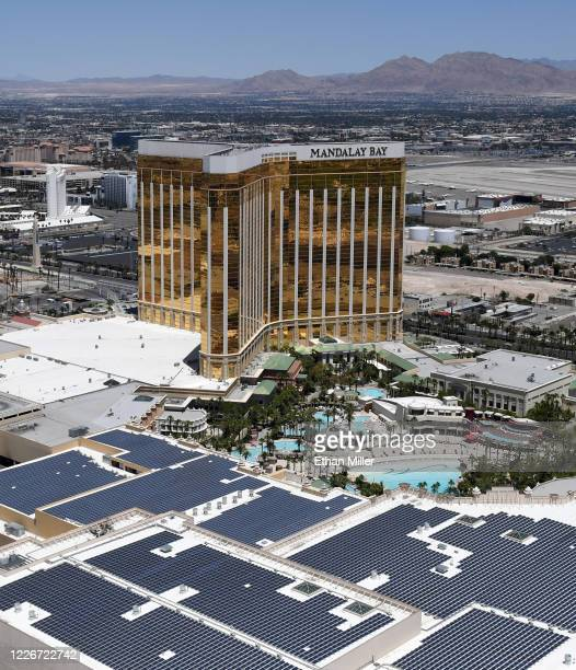 An aerial view shows Mandalay Bay Resort and Casino and the Mandalay Bay Convention Center which have been closed since March 17 in response to the...
