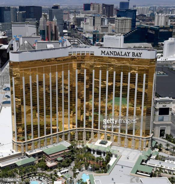 An aerial view shows Mandalay Bay Resort and Casino on the Las vegas Strip which has been closed since March 17 in response to the coronavirus...