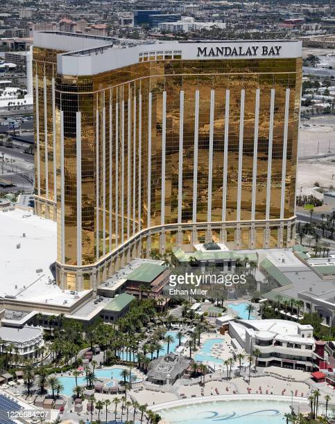 An aerial view shows Mandalay Bay Resort and Casino which has been closed since March 17 in response to the coronavirus pandemic on May 21 2020 in...