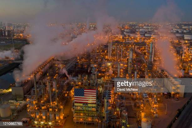 An aerial view shows Marathon Petroleum Corp's Los Angeles Refinery, the state's largest producer of gasoline, as oil prices have cratered with the...