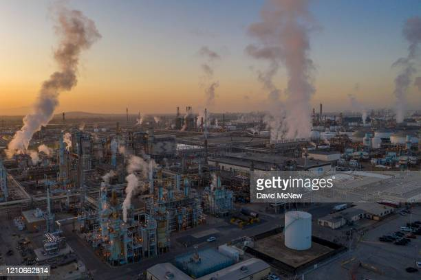 An aerial view shows Marathon Petroleum Corp's Los Angeles Refinery the state's largest producer of gasoline as oil prices have cratered with the...