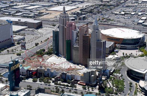 An aerial view shows New YorkNew York Hotel Casino and TMobile Arena home of the NHL's Vegas Golden Knights both of which have been closed since...