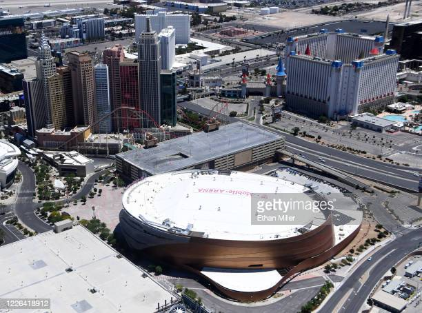 An aerial view shows New York-New York Hotel & Casino , Excalibur Hotel & Casino and T-Mobile Arena, home of the NHL's Vegas Golden Knights, all of...