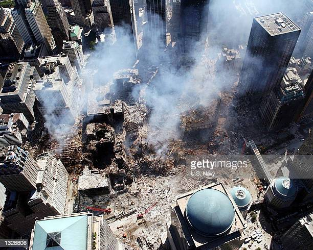 An aerial view shows only a small portion of the crime scene September 16, 2001 where the World Trade Center collapsed following the September 11,...