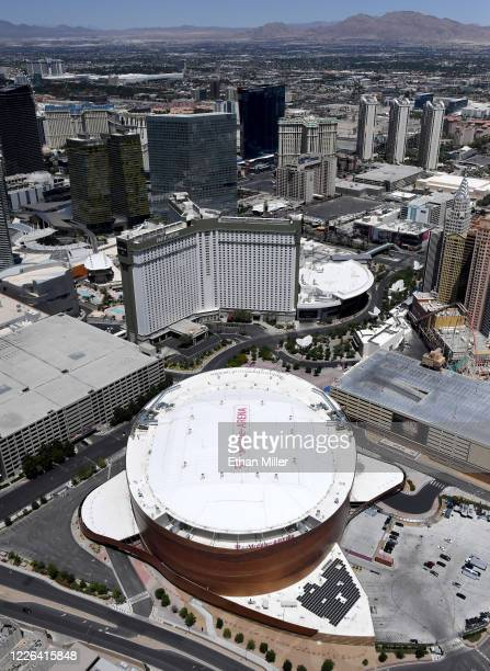 An aerial view shows Park MGM and T-Mobile Arena, home of the NHL's Vegas Golden Knights, both of which have been closed since March 17 in response...