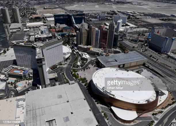 An aerial view shows Park MGM, New York-New York Hotel & Casino and T-Mobile Arena, home of the NHL's Vegas Golden Knights, all of which have been...