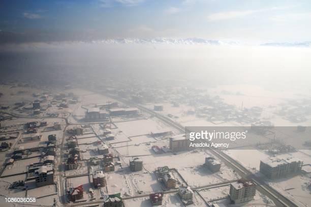 An aerial view shows snow covered field during winter season in Yuksekova district of Hakkari Turkey on January 22 2019