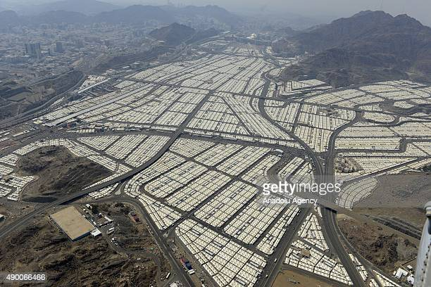 An aerial view shows tens of thousands of tents hosting pilgrims in Mina near the holy city of Mecca on September 25 2015