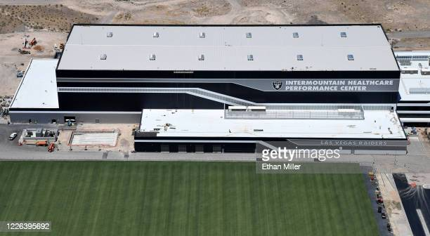 An aerial view shows the 336,000-square-foot Las Vegas Raiders Headquarters/Intermountain Healthcare Performance Center under construction on May 21,...