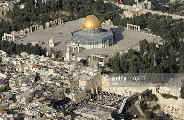 An aerial view shows the AlAqsa mosque compound and Judaism's holy site The Western Wall in Jerusalem's the Old City 10 October 2006 Both Jews and...