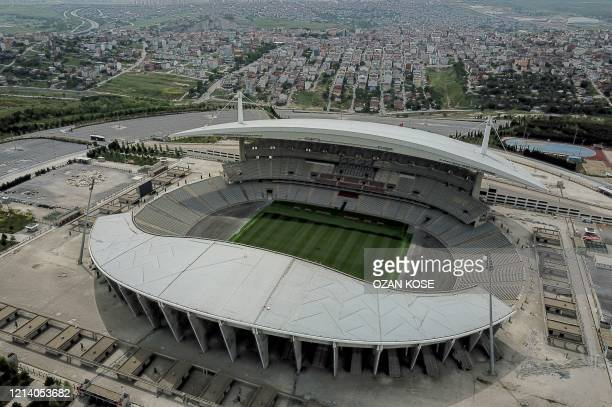 An aerial view shows the Ataturk Olympic stadium where the final of the 2020 Champions league final was scheduled in Istanbul on May 19 during a...