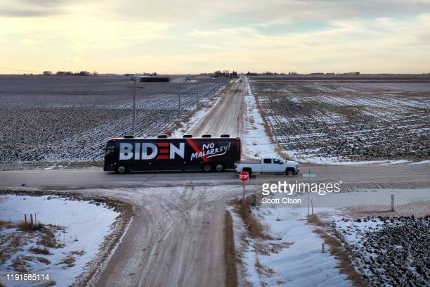 An aerial view shows the campaign bus of Democratic presidential candidate former Vice President Joe Biden as it travels from a campaign stop in...