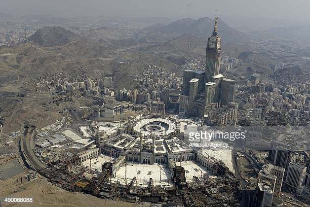 An aerial view shows the Clock Tower and the Grand Mosque in Saudi Arabia's holy Muslim city of Mecca on September 25 2015