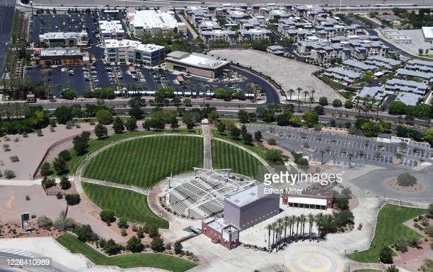 An aerial view shows the closed Henderson Pavilion openair theater on May 21 2020 in Henderson Nevada On May 19 the Henderson City Council voted to...
