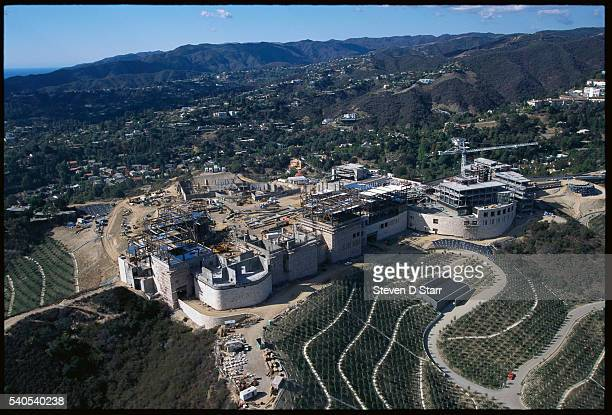 An aerial view shows the construction site of the Getty Center