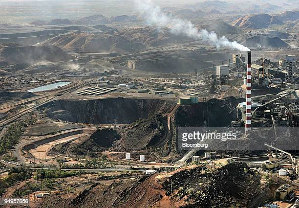 An aerial view shows the copper silver lead and zinc mining and smelting operations at Xstrata Plc's Mt Isa mine in Queensland Australia on Tuesday...