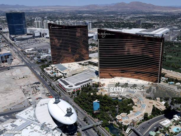 An aerial view shows The Drew Las Vegas north of Encore Las Vegas and Wynn Las Vegas, both of which have been closed since March 17 in response to...