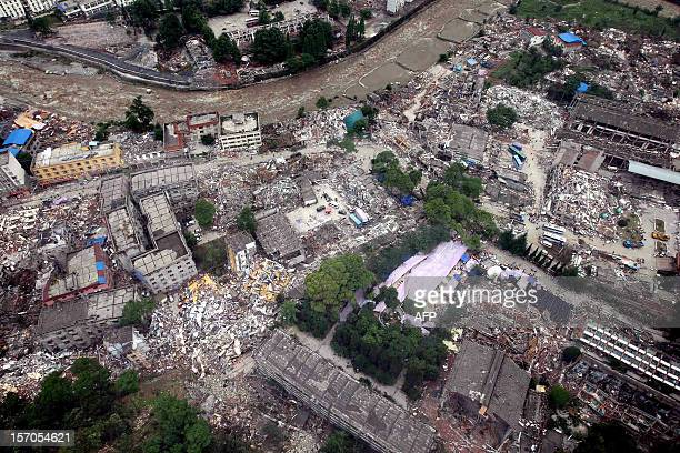 An aerial view shows the earthquakehit town of Yingxiu in Wenchuan County southwest China's Sichuan province on May 14 2008 China's military plans to...