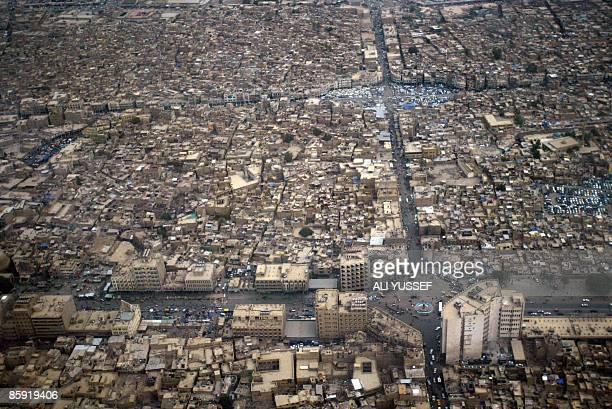 An aerial view shows the Fadel district in the Iraqi capital of Baghdad on April 12 2009 AFP PHOTO/ALI YUSSEF