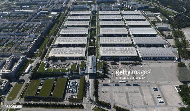 An aerial view shows the fair grounds in Munich ahead of the opening of the International Auto Show , on September 5, 2021.