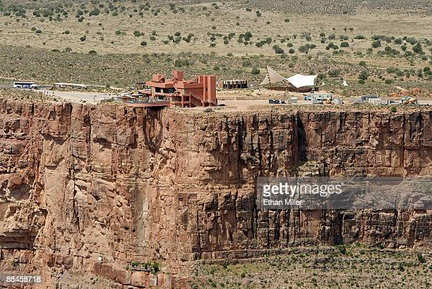 An aerial view shows the Grand Canyon Skywalk June 12 2009 in Grand Canyon West Arizona The Skywalk is a oneofakind glass bottom cantilever bridge...