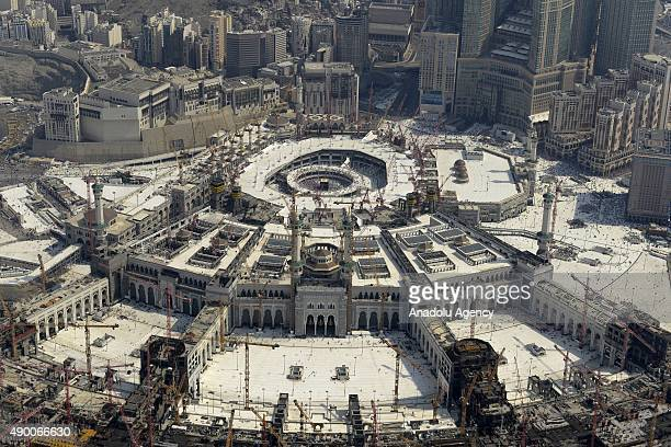 An aerial view shows the Grand mosque and the Kaaba in the holy city of Mecca on September 25 2015