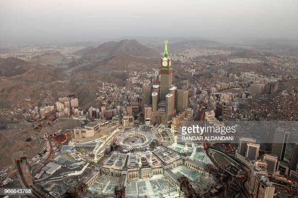 An aerial view shows the Grand Mosque in Saudi Arabia's holy city of Mecca on June 3 2018 Saudi Arabia will welcome millions of Muslim faithful on...