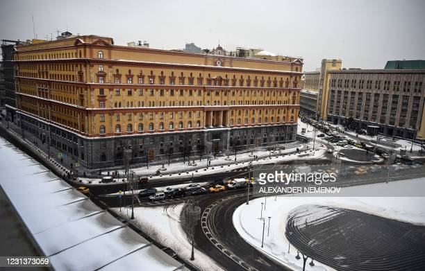 An aerial view shows the headquarters of the Federal Security Service , the successor agency to the KGB, and Lubyanka Square in front of it in...