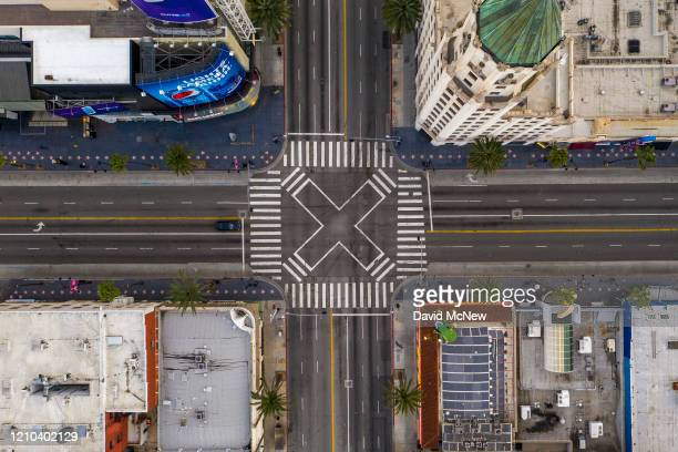An aerial view shows the Hollywood and Highland area as coronavirus infections continue to spread throughout the region on April 19, 2020 in the...