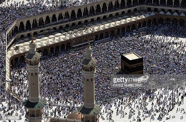 An aerial view shows the Kaaba at the Grand mosque in the holy city of Mecca on October 27 2012 Muslims worldwide celebrate the Eid alAdha or the...