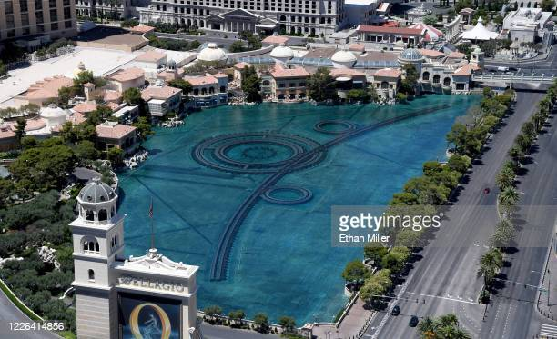 An aerial view shows the lake in front of Bellagio Resort Casino which has been closed since March 17 in response to the coronavirus pandemic on May...