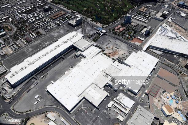 An aerial view shows the Las Vegas Convention Center and its 1.4 million-square-foot expansion under construction amid the coronavirus pandemic on...