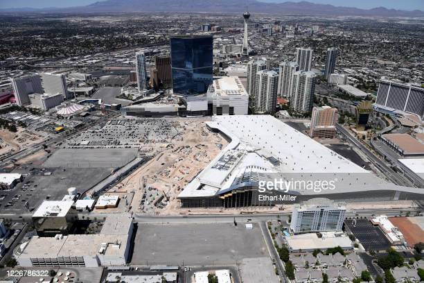 An aerial view shows the Las Vegas Convention Center's 1.4 million-square-foot expansion under construction amid the coronavirus pandemic on May 21,...
