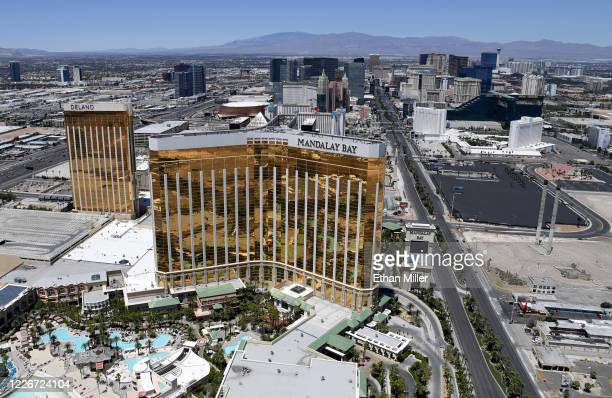 An aerial view shows the Las Vegas Strip including Delano Las Vegas at Mandalay Bay Resort and Casino and Mandalay Bay Resort and Casino all of which...