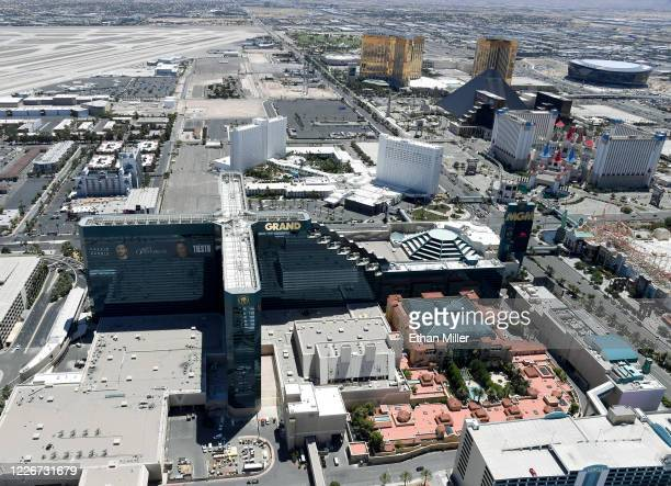 An aerial view shows the Las Vegas Strip including MGM Grand Hotel Casino and the Tropicana Las Vegas all of which have been closed since March 17 in...