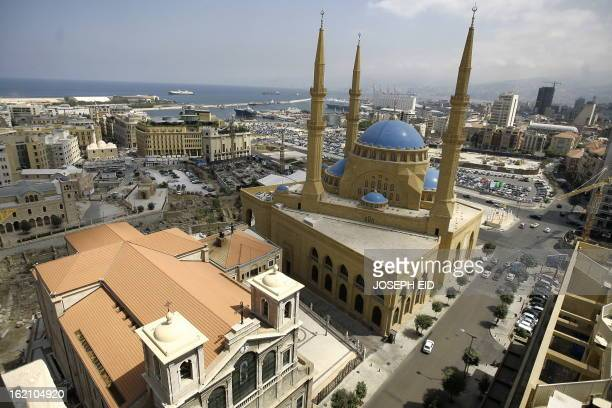 An areal view shows the main Sunni Muslim Mohammed alAmin mosque built at the side of the main Christian Maronites Church of Saint Georges in...