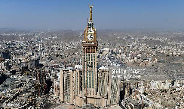 An aerial view shows the Mecca Tower Clock overlooking the Grand mosque in the holy city of Mecca on October 27 2012 Muslims worldwide celebrate the...