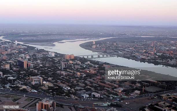 An aerial view shows the Nile river cutting through the Sudanese capital Khartoum on January 13 2011 South Sudan was set to wrap up a weeklong...