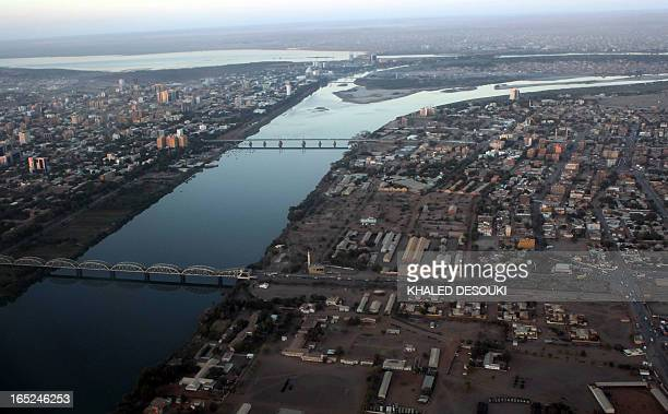 An aerial view shows the Nile river cutting through the Sudanese capital Khartoum on January 13, 2011. South Sudan was set to wrap up a week-long...