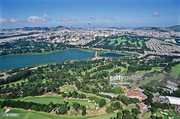 An aerial view shows The Olympic Club during the 98th U.S. Open golf tournament on June 19, 1998 at the Lake Course in San Francisco, California. The...