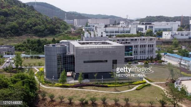 An aerial view shows the P4 laboratory at the Wuhan Institute of Virology in Wuhan in China's central Hubei province on April 17 2020 The P4...