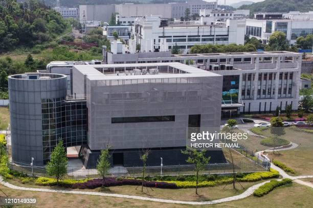 TOPSHOT An aerial view shows the P4 laboratory at the Wuhan Institute of Virology in Wuhan in China's central Hubei province on April 17 2020 The P4...