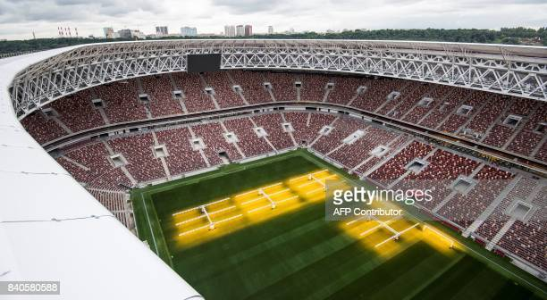 An aerial view shows the pitch and the tribunes of the Luzhniki Stadium in Moscow on August 29 2017 Luzhniki Stadium will host seven matches...
