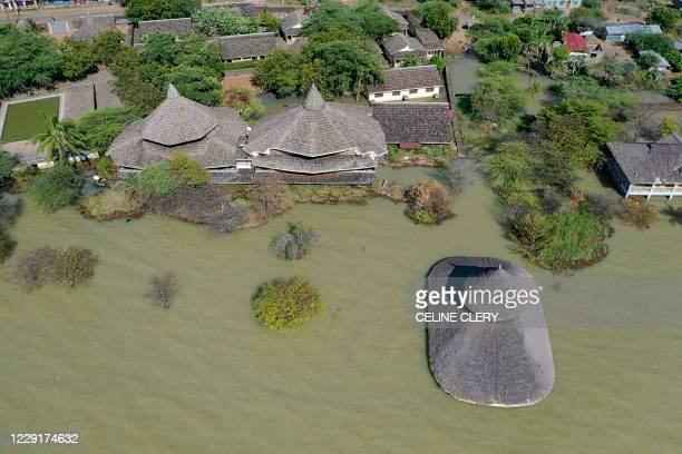An aerial view shows the rising water levels at Lake Baringo where tourist lodges such as the Soi Lodge where more than half the number of...