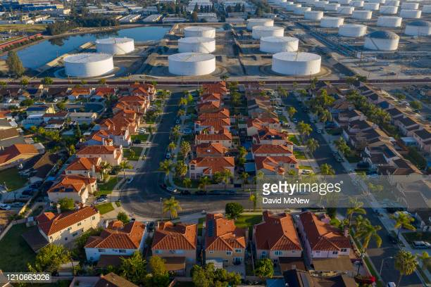 An aerial view shows the Shell Carson Distribution Complex, which distributes fuel throughout the Southern California region, as oil prices have...