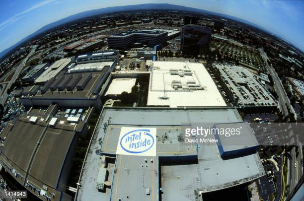 An aerial view shows the Silicon Valley location of Intel in Santa Clara California April 21 2000